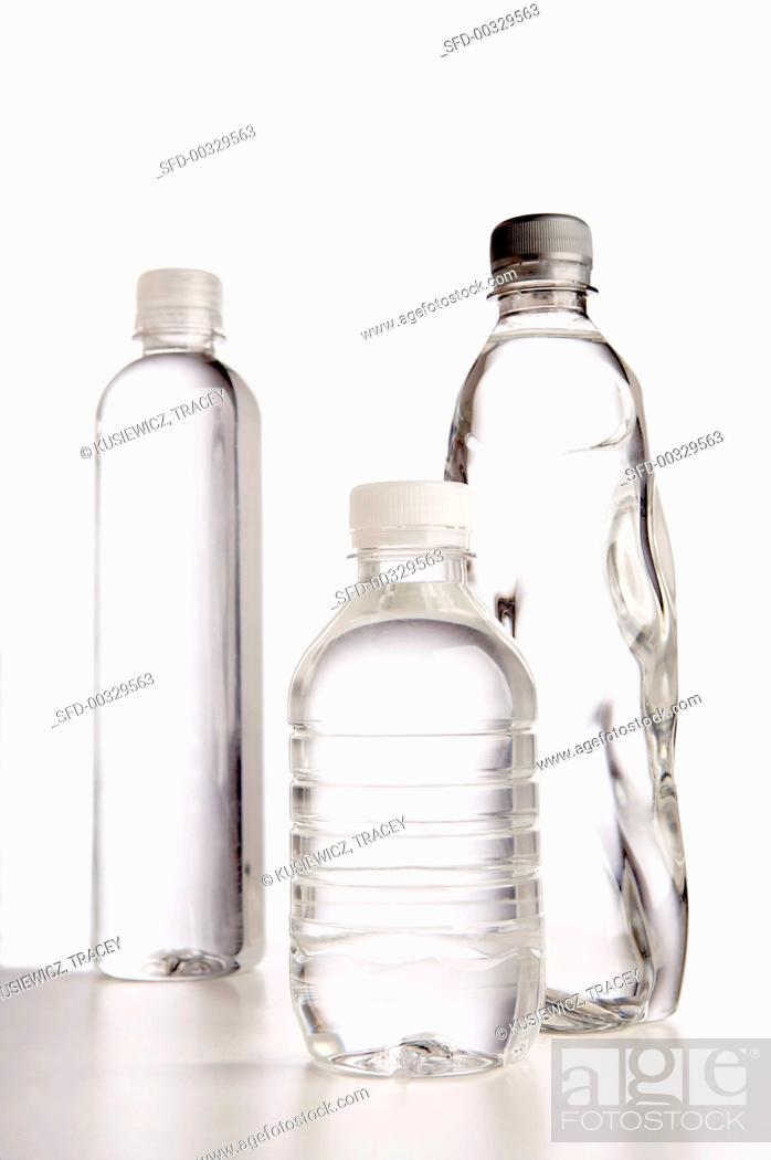 Stock Photo: Three plastic bottles of water.