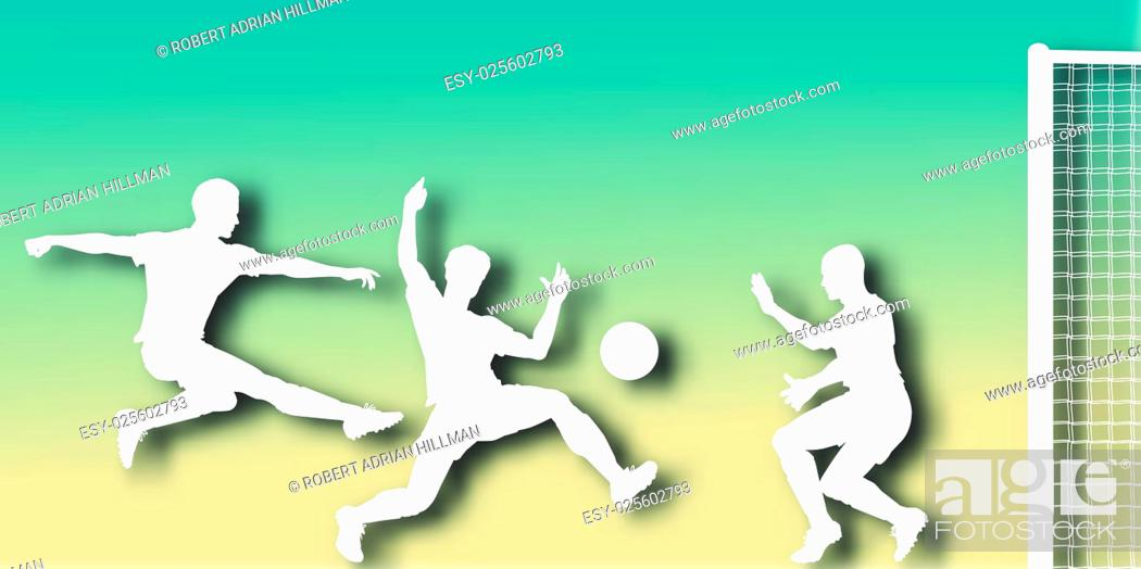 Vector: Editable vector cutout of action in a football match with background made using a gradient mesh.
