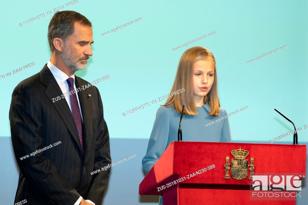 Stock Photo: October 31, 2018 - Madrid, Spain - King Felipe VI of Spain and Princess Leonor of Spain attend the reading of the Spanish Constitution for the 40th anniversary.
