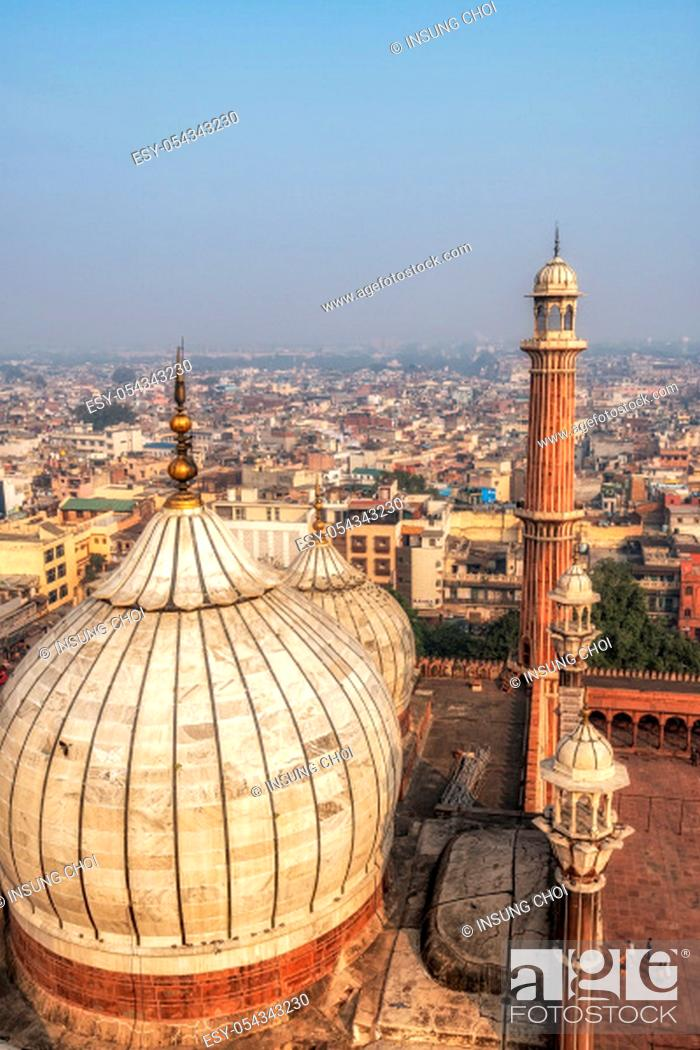Stock Photo: the view of Jama Masjid mosque and the city of new delhi taken from top of the mosque minaret. New Delhi, India.