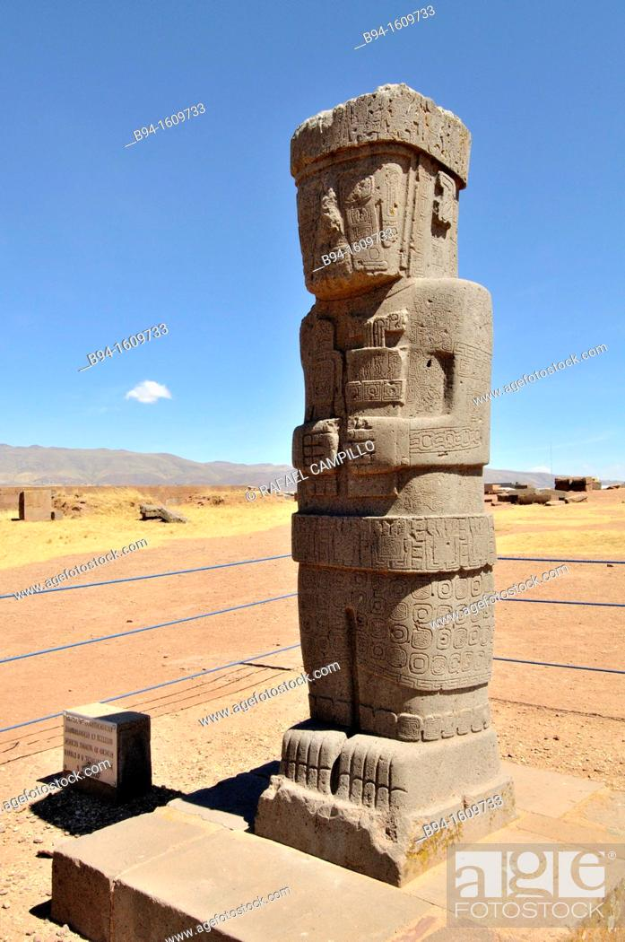 Stock Photo: Tiwanaku, (Spanish: Tiahuanaco and Tiahuanacu) is an important Pre-Columbian archaeological site in western Bolivia. Ponce stela in the sunken courtyard of the.