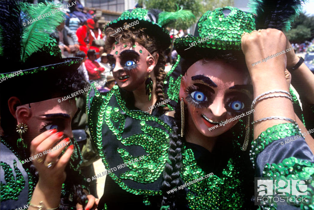 Stock Photo: Oruro carnival. La Morenada. Oruro was a ceremonial centre from prehispanic times. In Paria, the first city in Bolivia founded by Spanish.