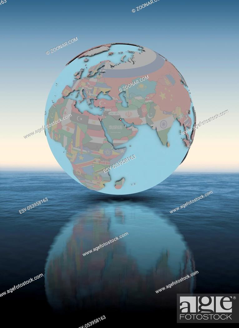 Stock Photo: Kuwait with national flag on globe above water surface. 3D illustration.