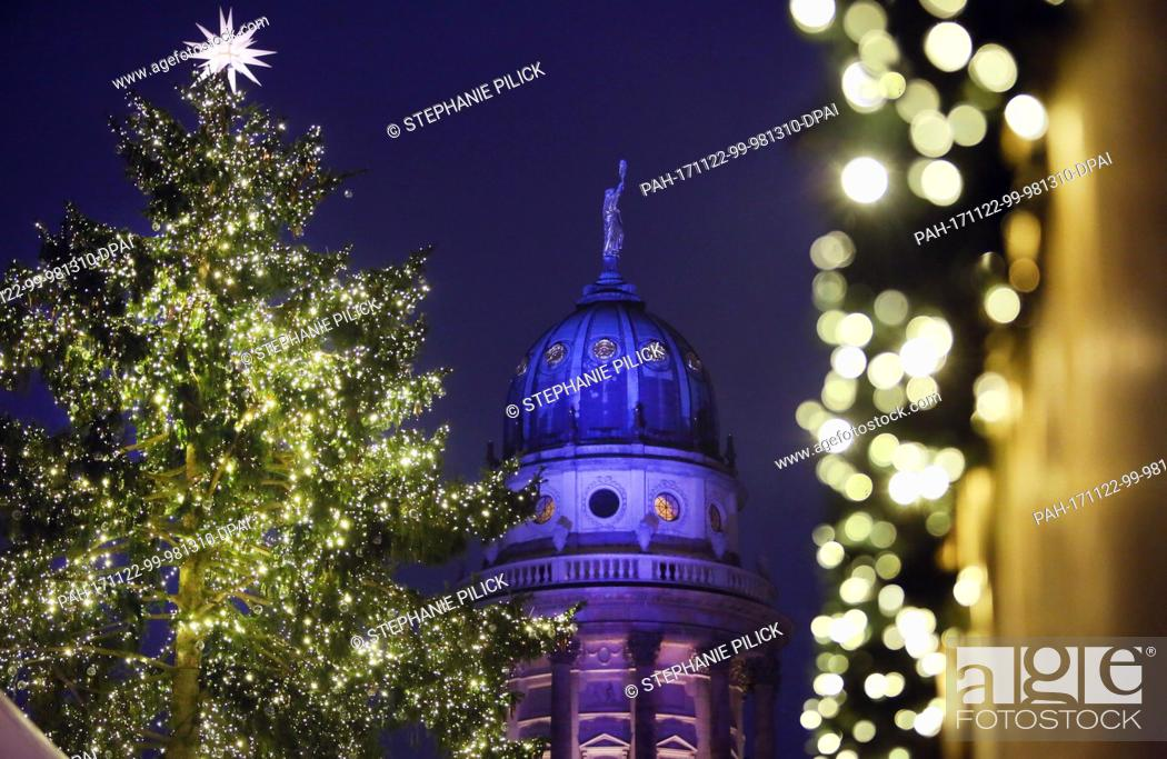 Stock Photo: Picture of the Christmas market at Gendarmenmarkt square adorned with shining stars in Berlin, Germany, 22 November 2017.