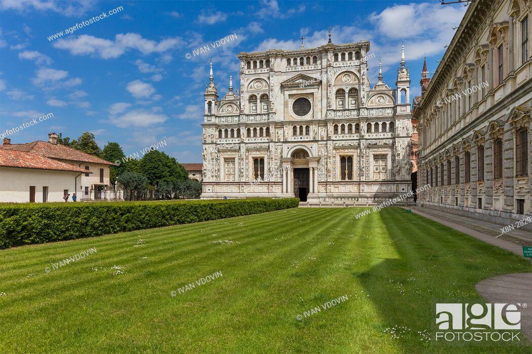 Stock Photo: Abbey church, Certosa di Pavia monastery, Lombardy, Italy.
