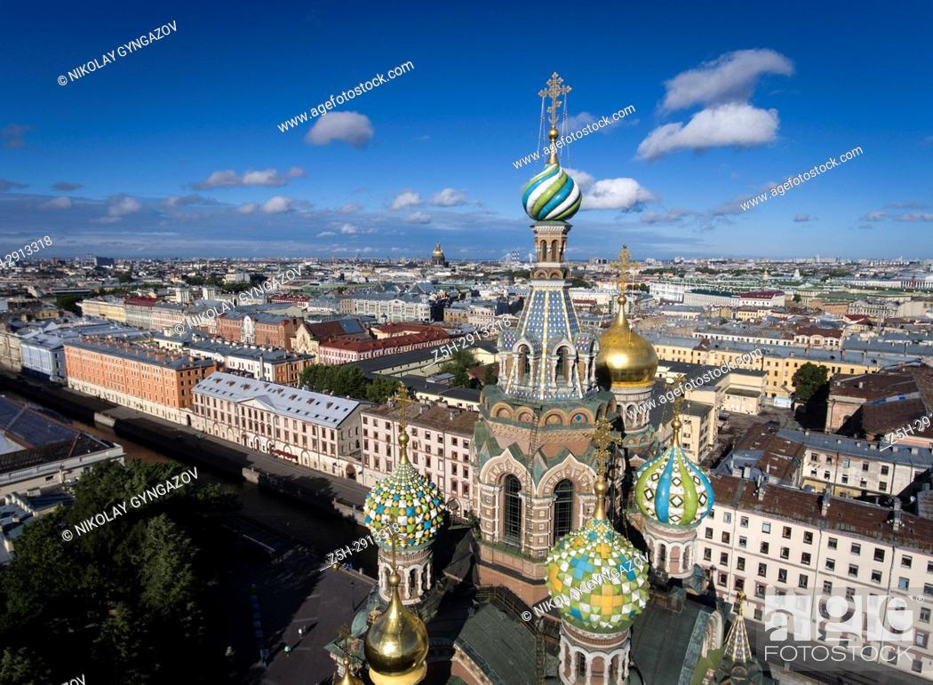 Stock Photo: Temple of the Savior on Blood from a bird's-eye view. Saint Petersburg. Russia.