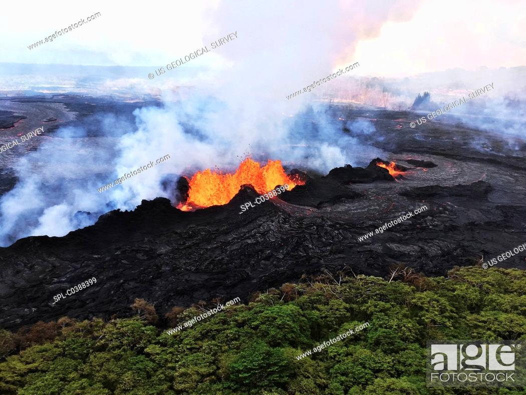 Stock Photo: Kilauea eruption lava fountains. Aerial photograph of lava fountains erupting from a fissure that opened during an eruptive episode on Kilauea.