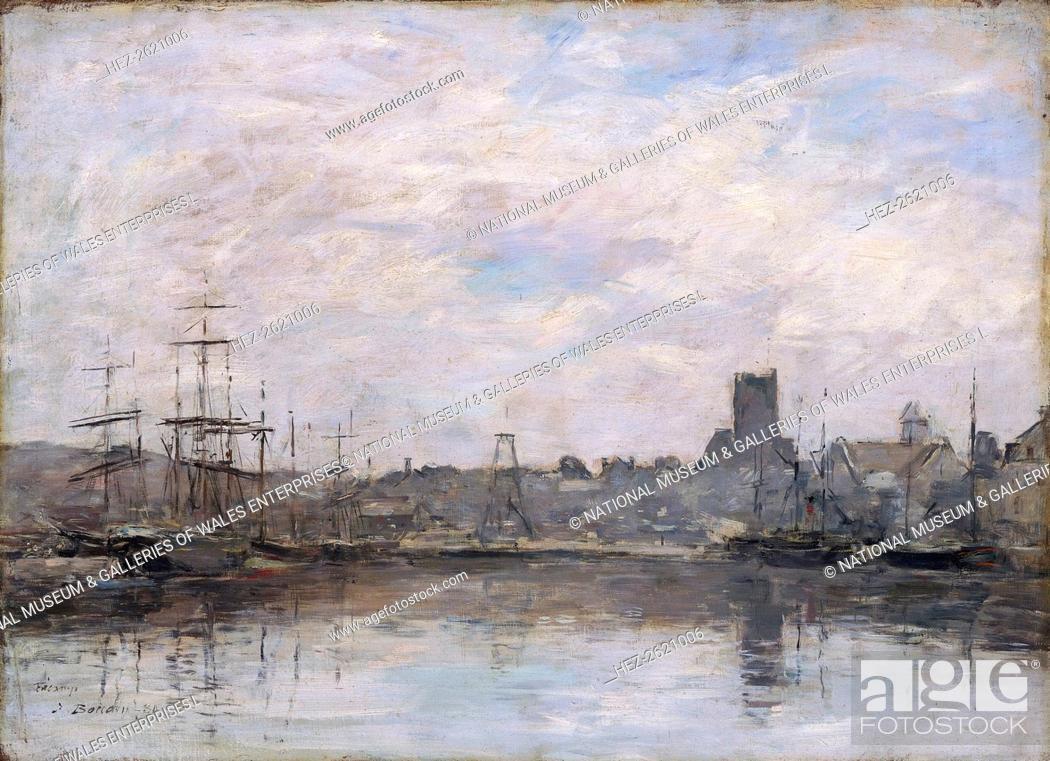 Stock Photo: 'September Morning: Port of Fecamp', 1880. Artist: Eugene Louis Boudin.