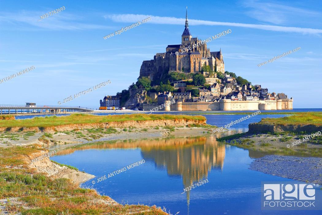Stock Photo: Mont St Michel, Mont-Saint-Michel, Benedictine abbey, Pontorson, UNESCO, World Heritage Site, Manche, Normandy, France.
