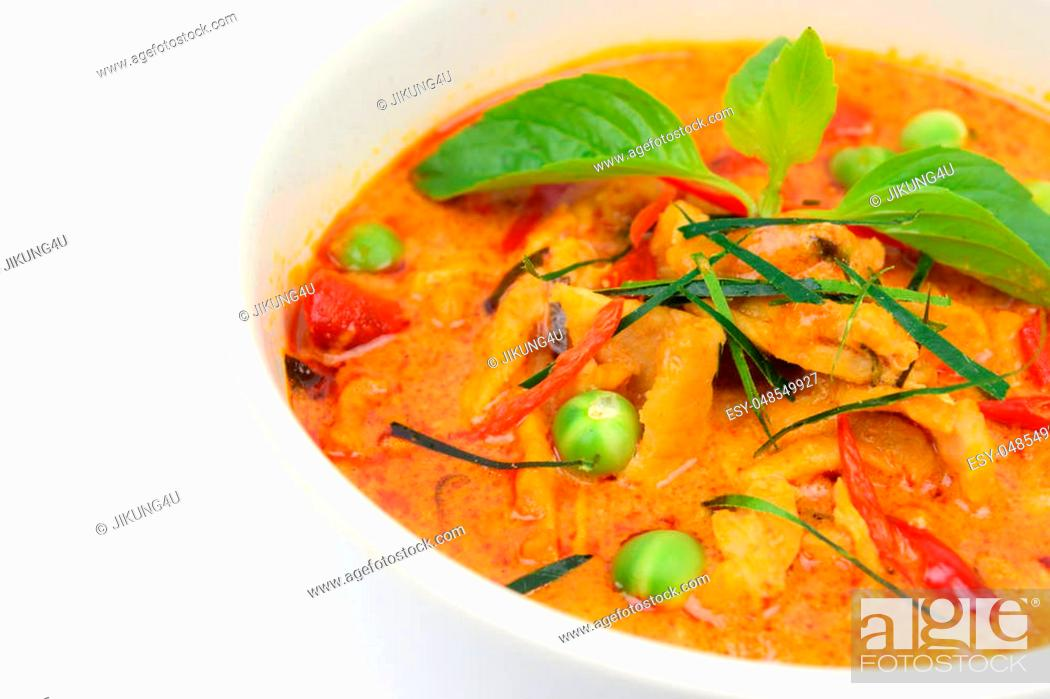 Stock Photo: Closeup Panaeng curry with pork or Red curry with pork (Panang pork) isolated on white background.