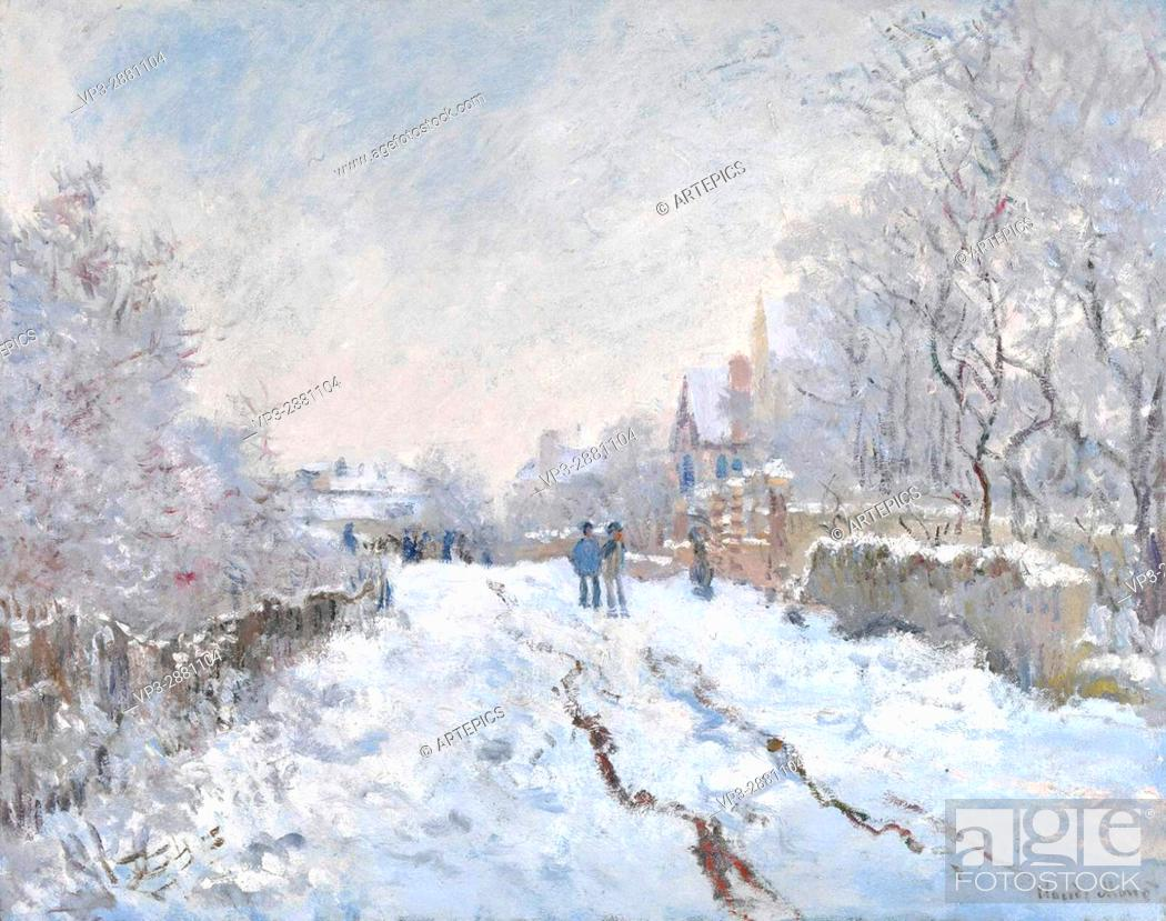 Stock Photo: Claude Monet. Snow scene at Argenteuil . 1875. National Gallery London.