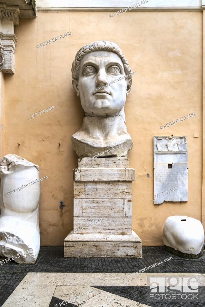 Stock Photo: The head and hand of the Colossus of Constantine in the courtyard of the Palazzo dei Conservatori, part of the Capitoline Museums, Rome, Italy.