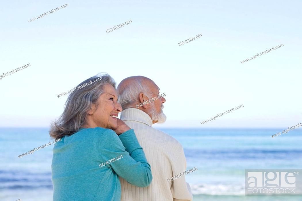 Stock Photo: Senior couple near the sea.