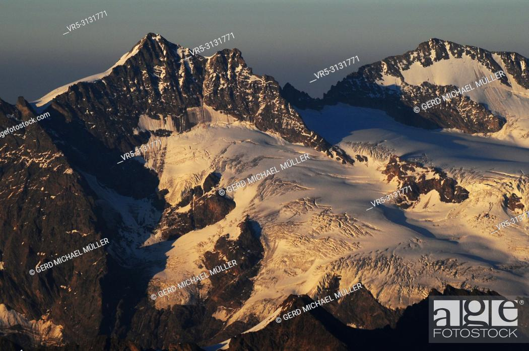 Stock Photo: mountain landscape panoramic view from Europe's highest alpin hut (Mönchshütte) in the Swiss alps.