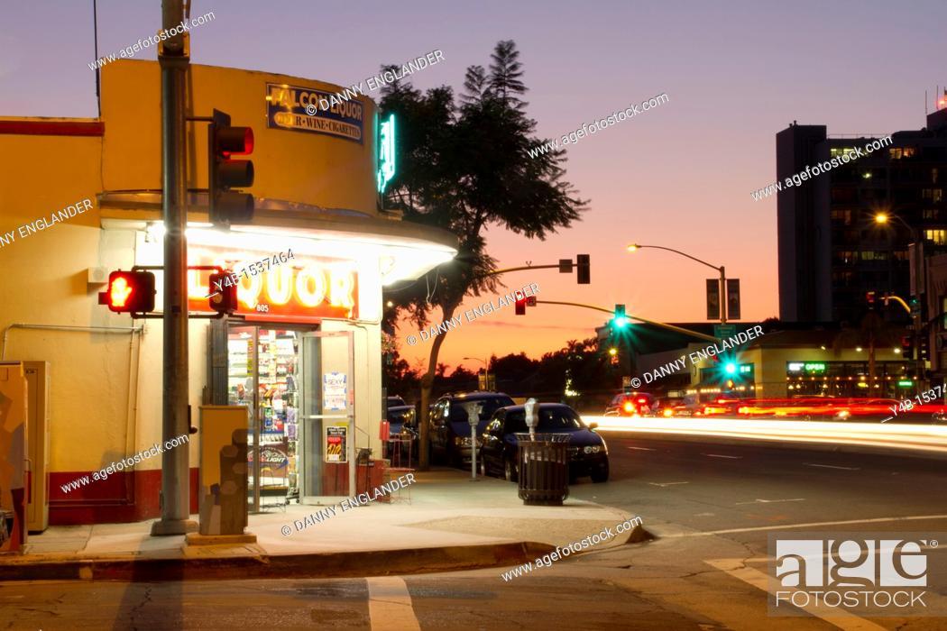 Stock Photo: Mission Hills Liquor Store at Sunset.
