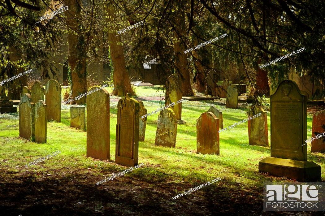 Stock Photo: Graveyard at Brecon Cathedral, Wales in spring.
