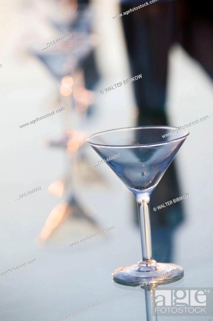 Stock Photo: MEXICO-Pacific Coast-GUERRERO-Ixtapa: Playa del Palmar / Beachside Bar Cocktail Glass / Dusk.