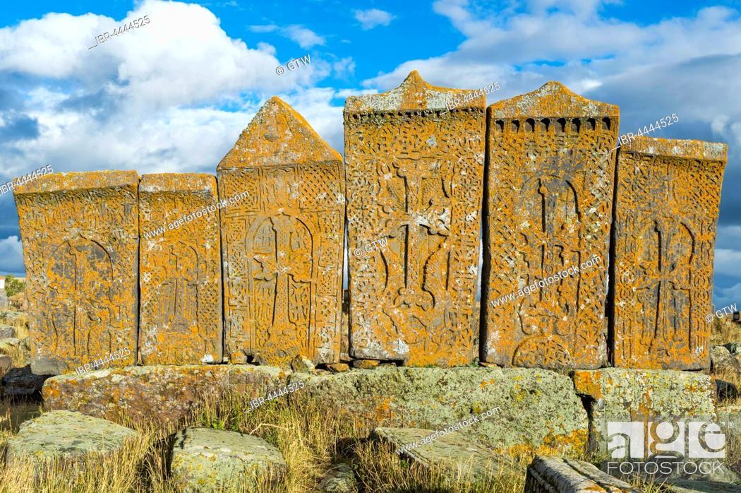 Stock Photo: Medieval Khachkars, carved memorial stele, Noratus Cemetery, Lake Sevan, Gegharkunik Province, Caucasus, Armenia.