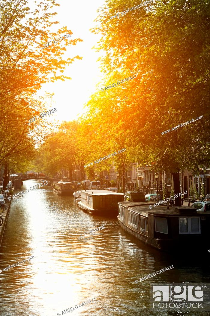 Stock Photo: Netherlands. Amsterdam. Channel of Amsterdam at sunset.
