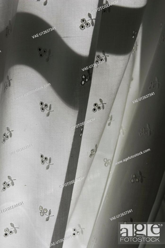 Stock Photo: Cloth, Black And White, Curtain, Design, Drapery, Drapes.