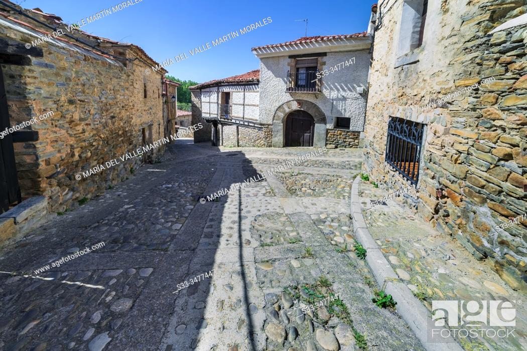 Stock Photo: Street and rural house in the medieval village of Yanguas. Soria. Spain. Europe.
