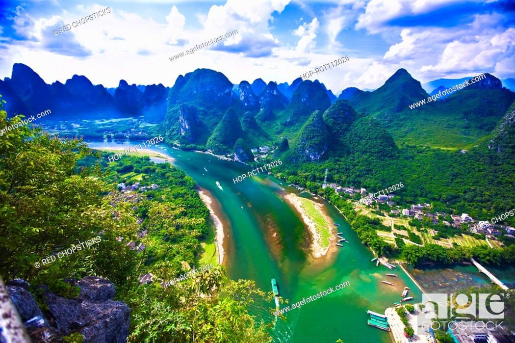 Stock Photo: Aerial view of a river, Li River, XingPing, Yangshuo, Guangxi Province, China.