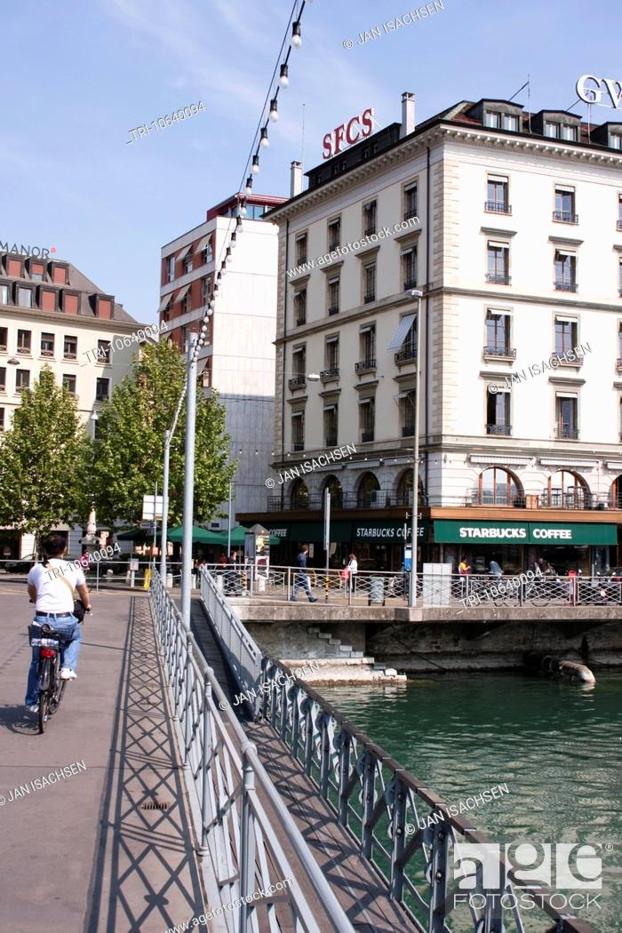 Stock Photo: Starbucks Coffe Shop along Quai de Bergues, Geneva, Switzerland.