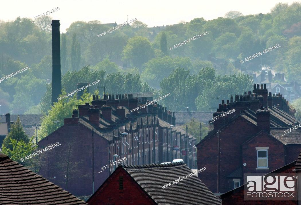Stock Photo: An urban landscape of Potteries factory housing in Middleport, Stoke-on-Trent, Staffordshire, England.