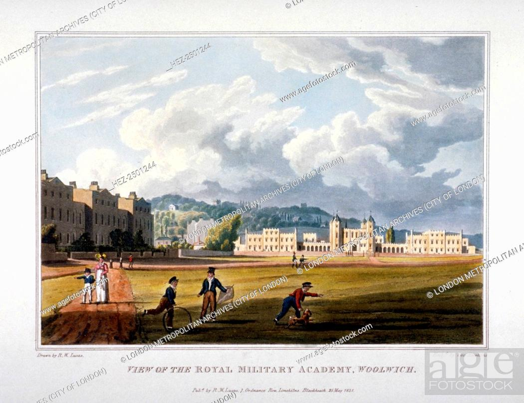 Imagen: Royal Military Academy, Woolwich, Kent, 1821. View showing children in the foreground playing with a hoop, a kite and a dog on the grass with the buildings of.