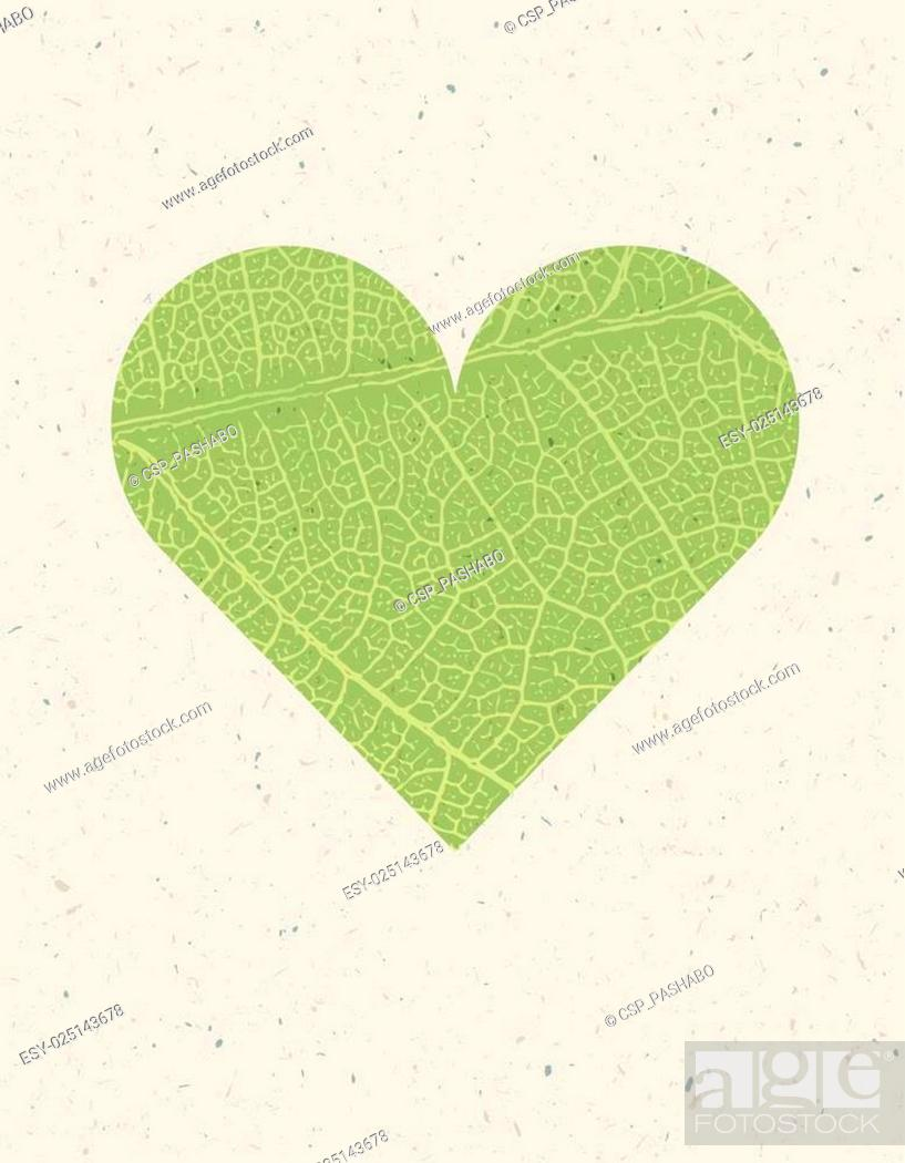 Stock Vector: Heart shape with green leaf texture. Nature background with free space for text or image. Green leaf veins texture heart shaped on the recycled paper texture.