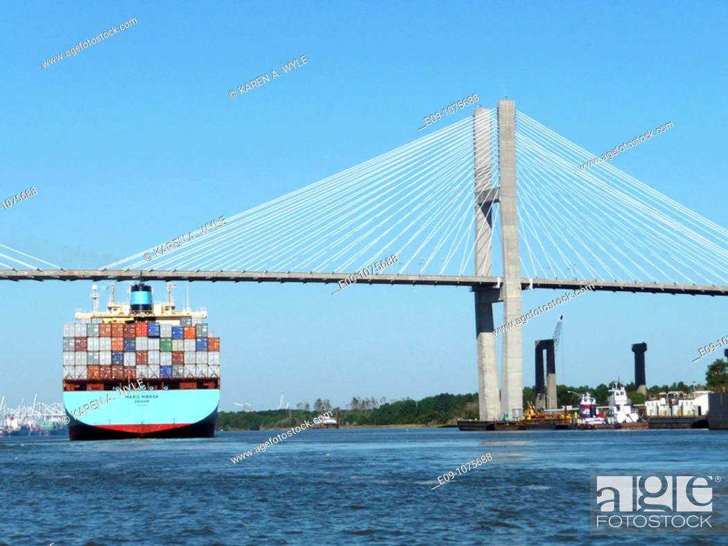 Stock Photo: Maersk Line container ship passing beneath Talmadge Memorial Bridge, Savannah River, Savannah, Georgia.