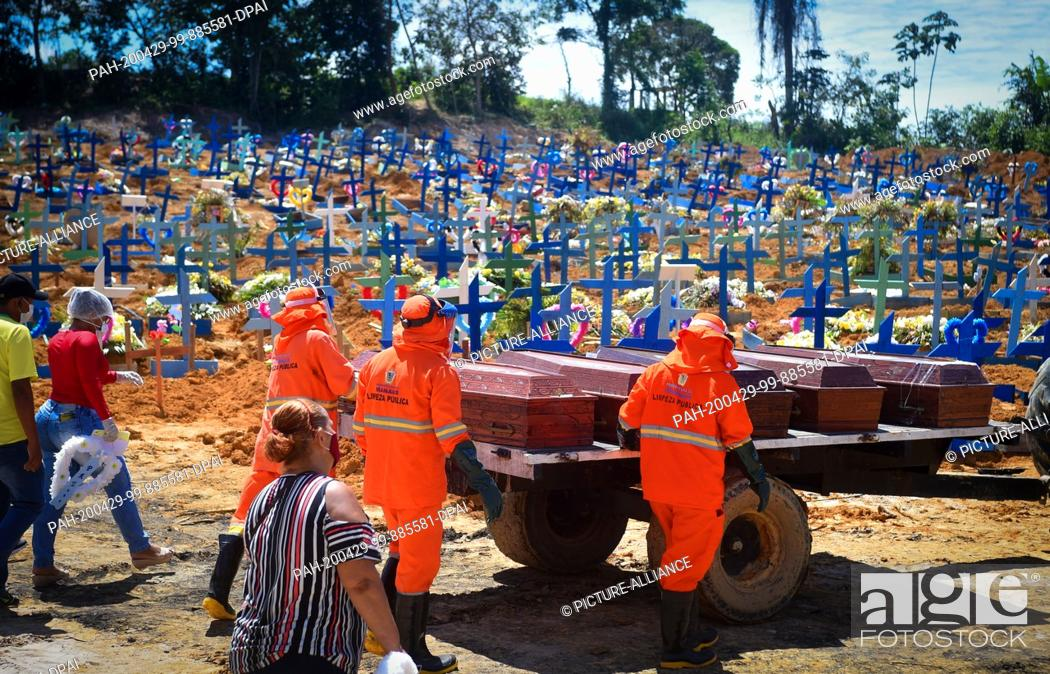 Stock Photo: 29 April 2020, Brazil, Manaus: Cemetery workers, followed by relatives of the dead wearing face masks against the spread of Covid-19.
