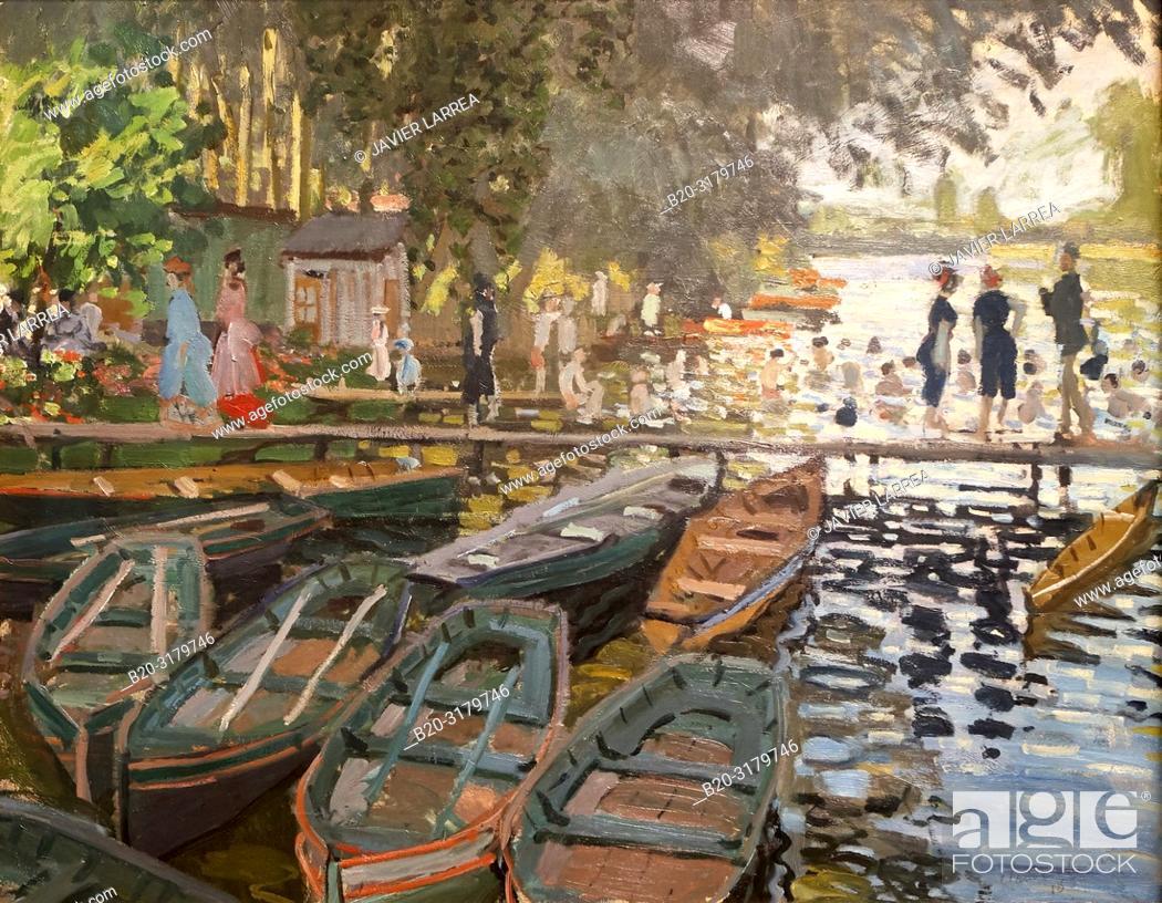 "Stock Photo: """"""Bathers at La Grenouillère"""", 1869, Claude Monet, National Gallery, London, England, UK."