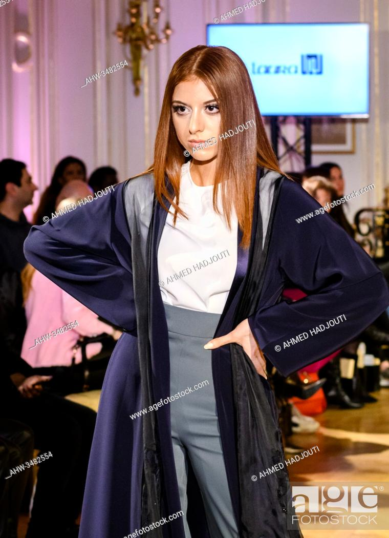 Stock Photo: PARIS, FRANCE - FEBRUARY 28: A model walks the runway during the Fashion Week Studio show wearing the designs of Laura Doha as part of Paris Fashion Week on.