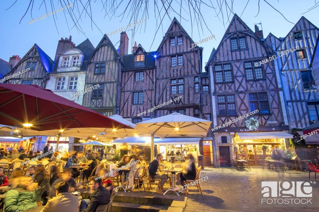 Stock Photo: Tours France on December 28, 2019: Medieval buildings at Plumereau square ( Place Plumereau ). Tours. France.