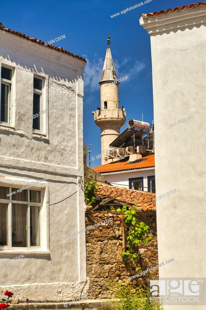 Stock Photo: Alaybey Mosque minaret, Bolzcaada, Turkey.