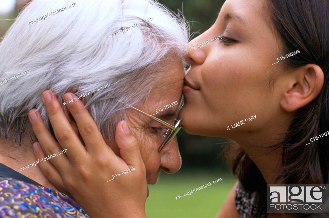 Stock Photo: Hispanic grandmother and grandchild.
