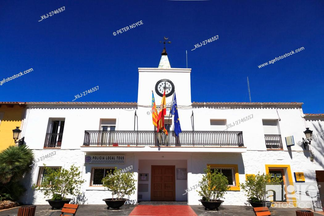 Stock Photo: The classic spanish Policia Local Station in the created village of Tous in Valencia Community Spain.