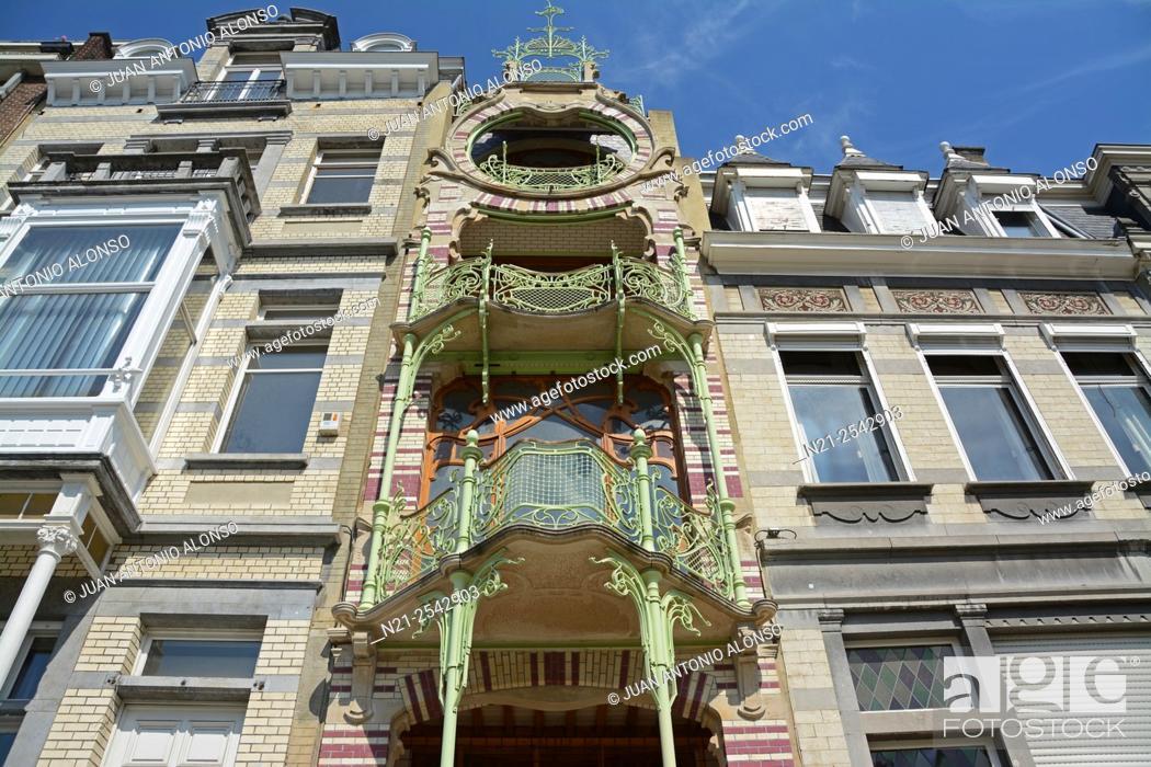 Stock Photo: Gustave Strauven's Art Nouveu style Maison Saint-Cyr. Brussels, Belgium, Europe.