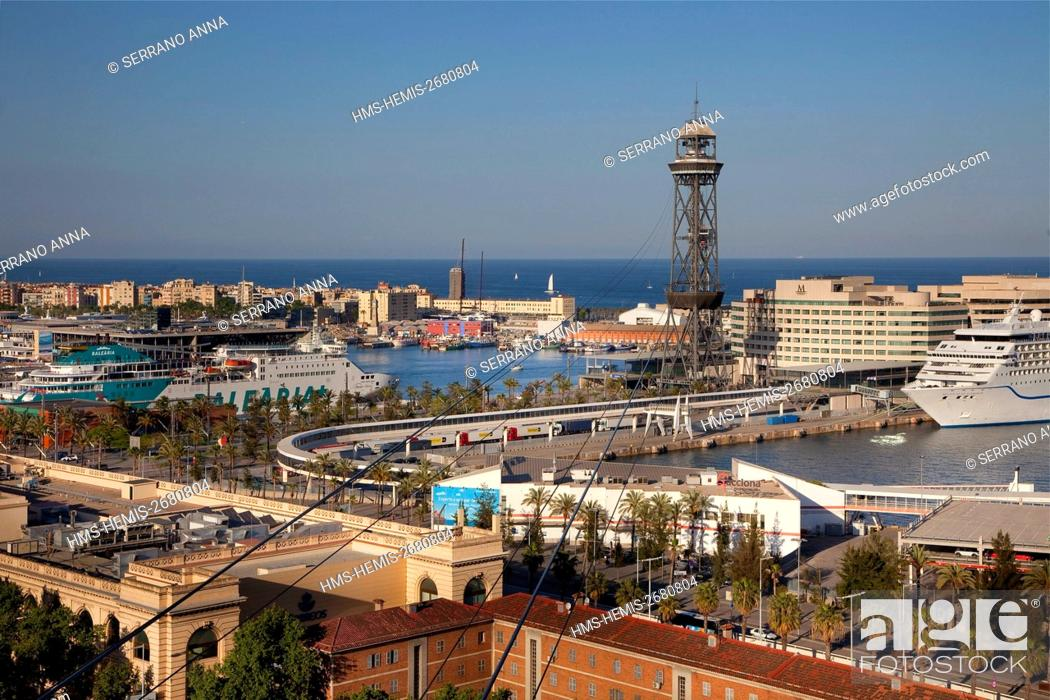 Stock Photo: Spain, Catalonia, Barcelona, Montjuic, Panoramic view.
