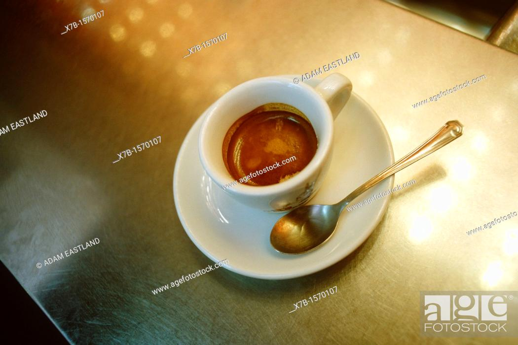 Stock Photo: Naples  Italy  Espresso coffee on zinc bar counter.