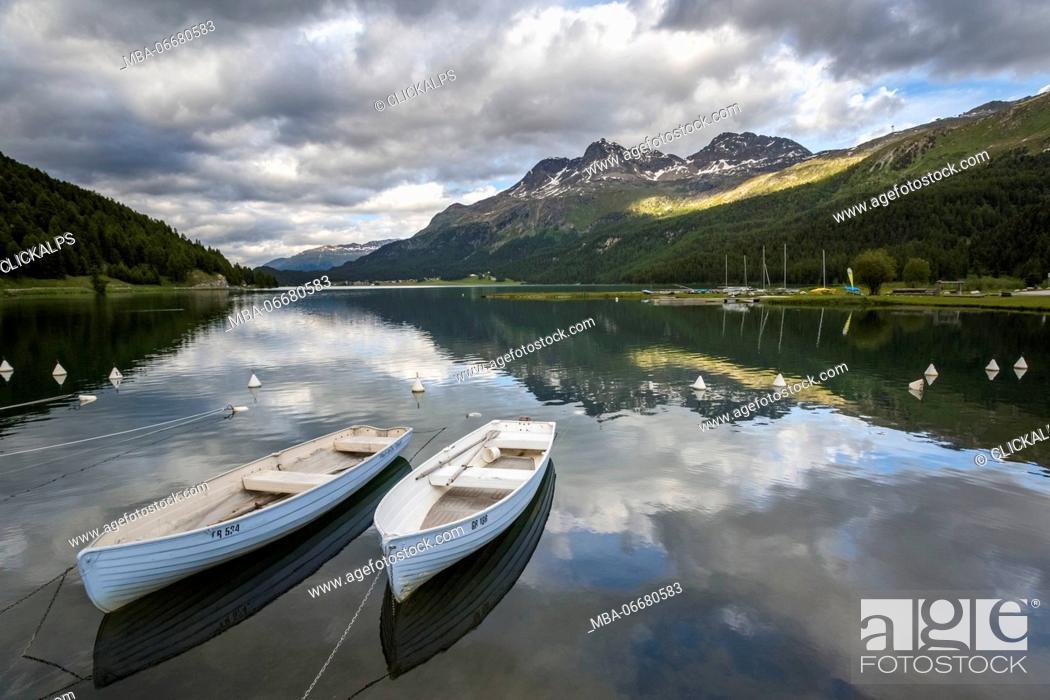 Stock Photo: Two boats on Silvaplana Lake, Engadin, Graubunden, Switzerland.