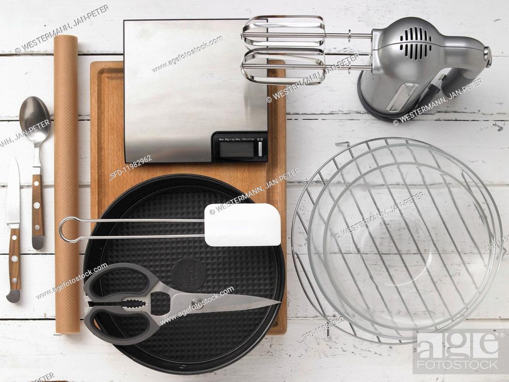 Stock Photo: Kitchen utensils for making cake.