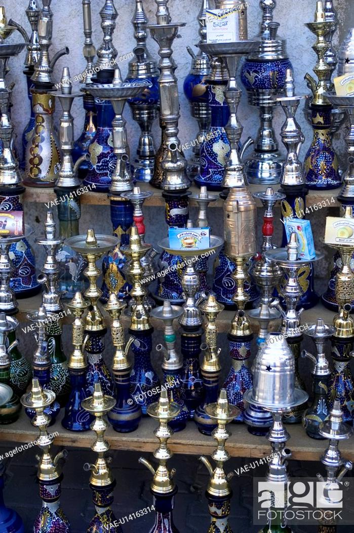 Stock Photo: Close-Up, Display, Group Of Objects, Hookah, Indoors.