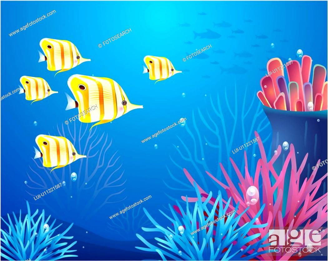 Stock Photo: multicolored, sea, underwater, undersea, ocean, background.