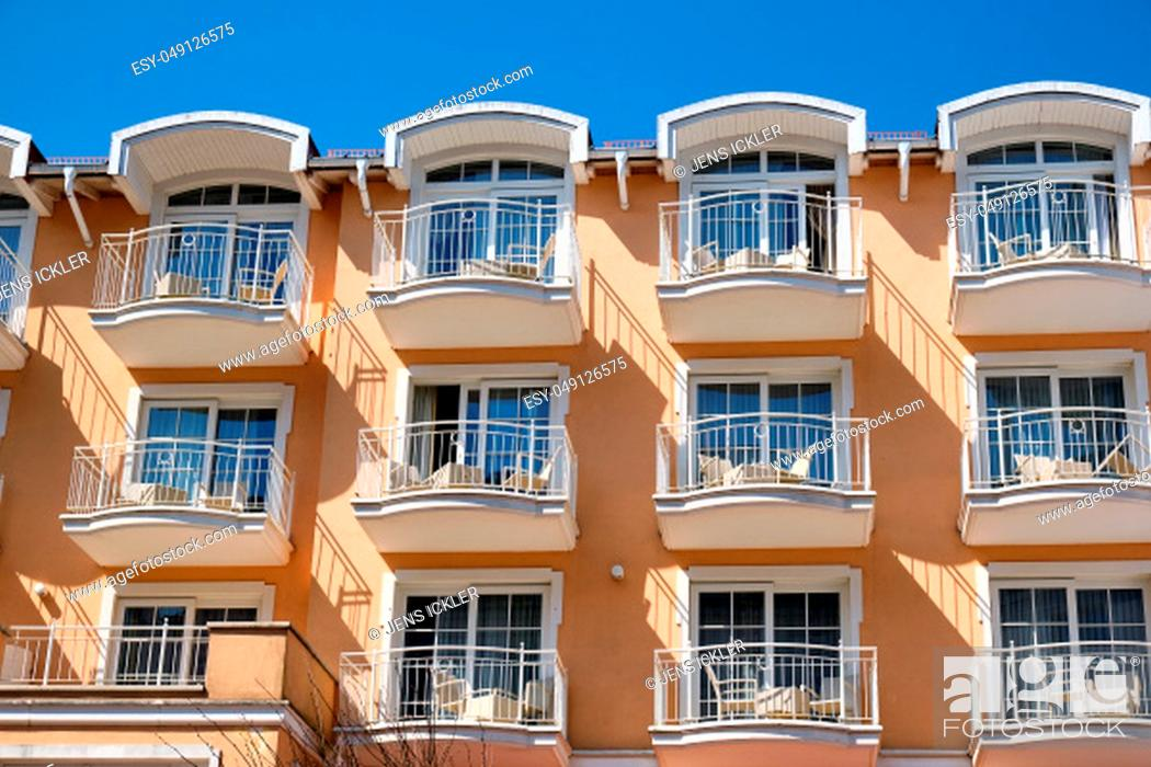 Stock Photo: Facade of a tourist resort with a lot of balconies seen in Germany.