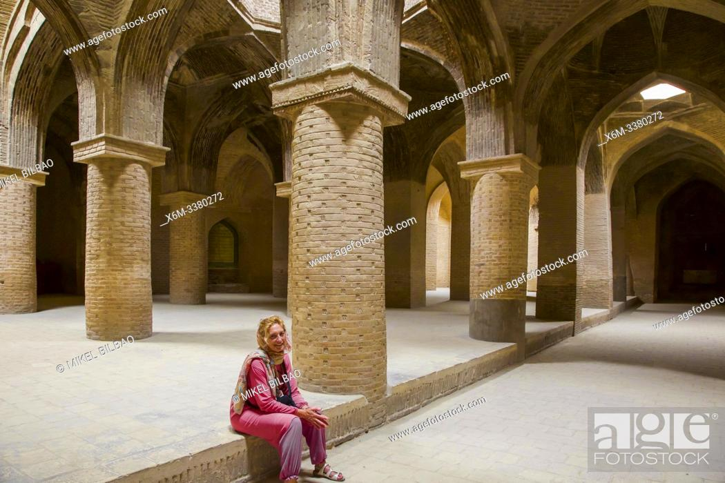 Stock Photo: Columns in the hypostyle area. Jameh Mosque. Isfahan, Iran. Asia.