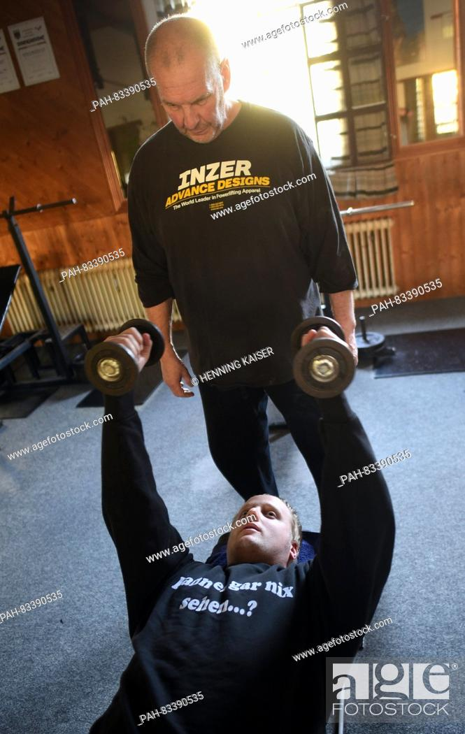 Blind Sebastian Scholle Working Out With The Help Of Klaus Disse