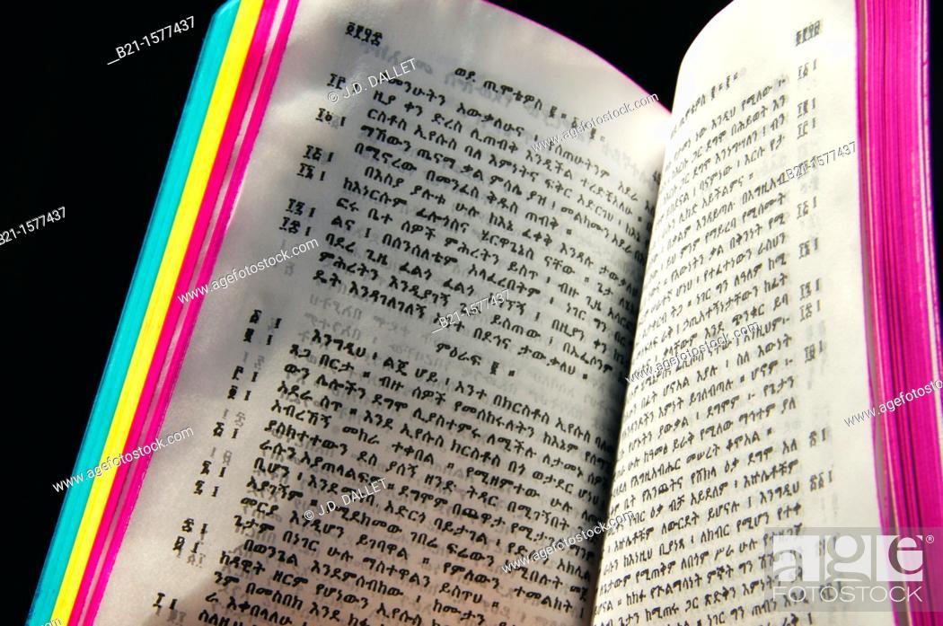 Ethiopian Christian Orthodox Bible written in amharic, Ethiopia