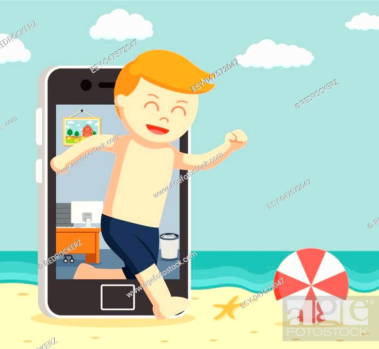 Stock Vector: man going vacation trough smartphone.